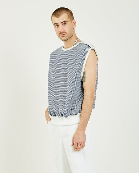 THE MUSEUM VISITOR String Knit Vest - NAVY