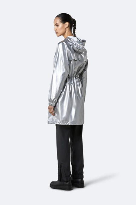 Rains Long W Jacket - Silver