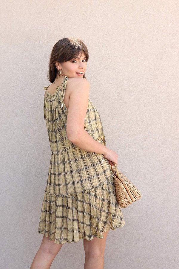 Moon River Mustard Plaid Ruffle Tiered Dress