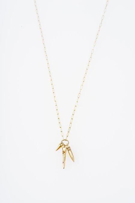 TOLA JEWELRY TRISULA PENDANT WITH DIAMONDS - 14k GOLD