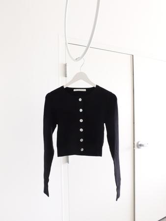 Rib Knit Cardigan in Black