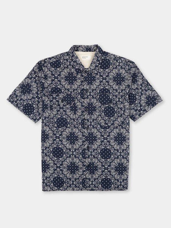 Universal Works Utility SS Shirt - Navy Bandana Cotton