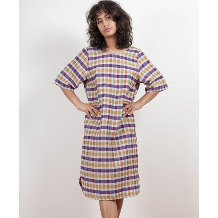 Gravel and Gold Anim Dress in Plaid