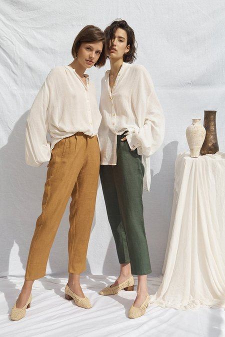 All That Remains Isabel Linen Pants - Forest Green