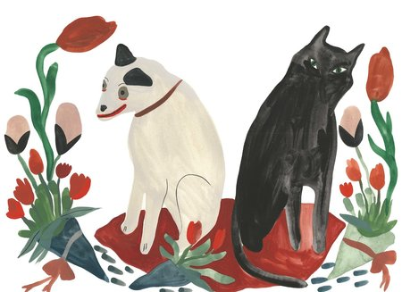 scout west county cat and dog with flowers print