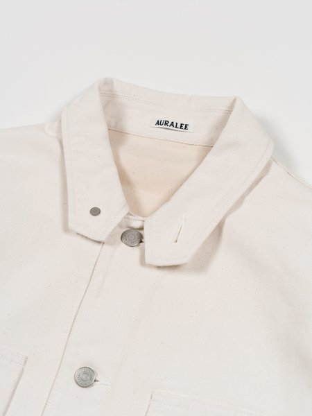 Auralee Hard Twist Denim Blouzon - White/Ivory