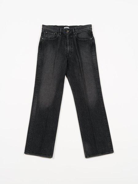 Auralee Washed Hard Twist Denim 5P Pants - Light Black