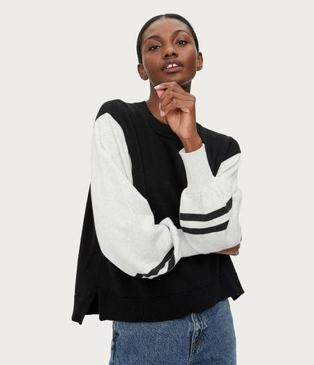 Michael Stars Melody Sweater with Stripes - black combo