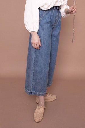 L.F.Markey Pleat Front Jeans - Mid Blue