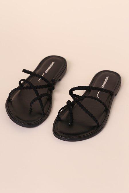 """""""INTENTIONALLY __________."""" JULIETTA Suede Sandals - Black"""