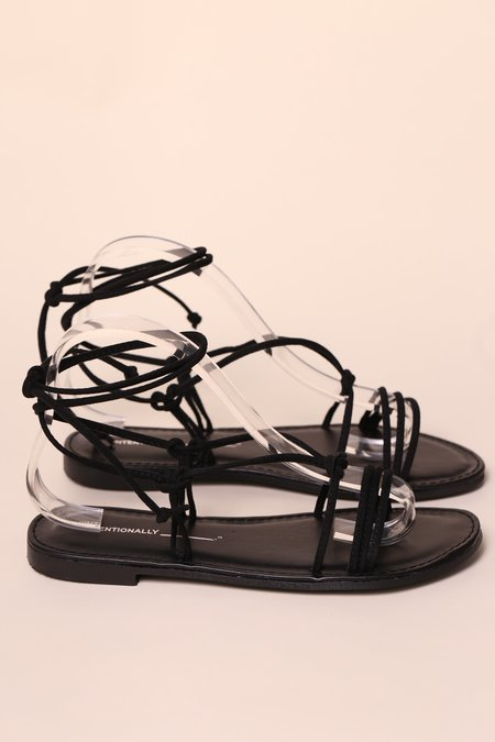 """INTENTIONALLY __________."" SARAFINA Suede Sandal - Black"