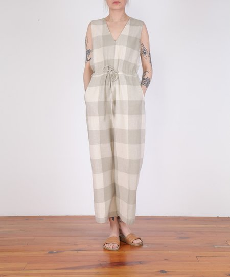 Ali Golden Slit Back Jumper Raw Silk - NATURAL GINGHAM