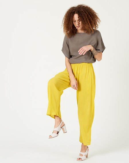 Black Crane Easy Pant - Yellow