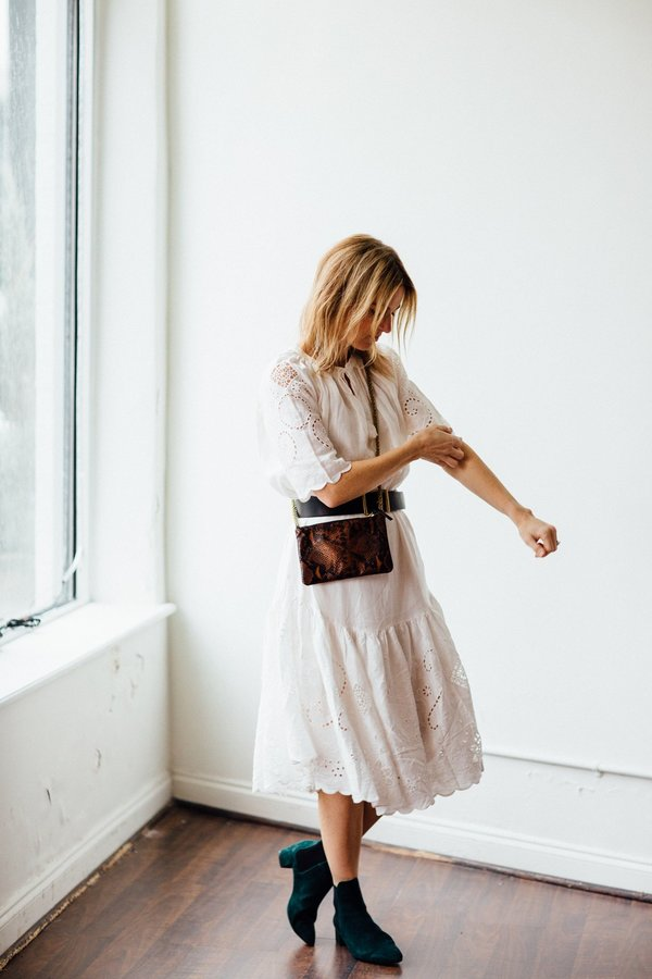 Clare V. Alix Handbag - Cocoa Python