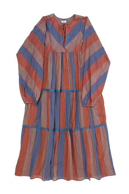 Warm Cowerie Dress - Orange Stripe Multi