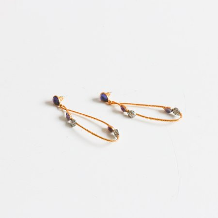 Pre-loved Alexis Bittar Stone Teardrop Earring - Gold tone