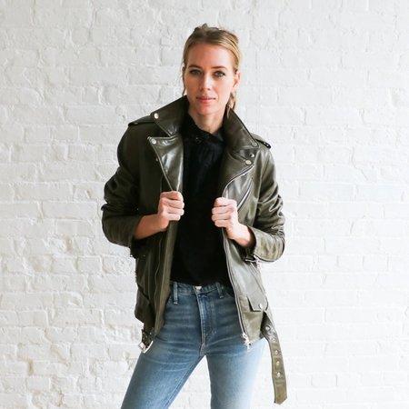 Pre-loved Amiri Leather M Moto Jacket - Olive