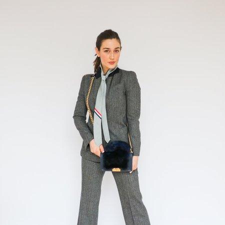 Pre-loved Chanel Medium Rabbit Fur & Leather Boy Bag - Navy
