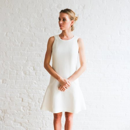 Pre-loved Chanel Textured 34 A-Line Dress - Cream