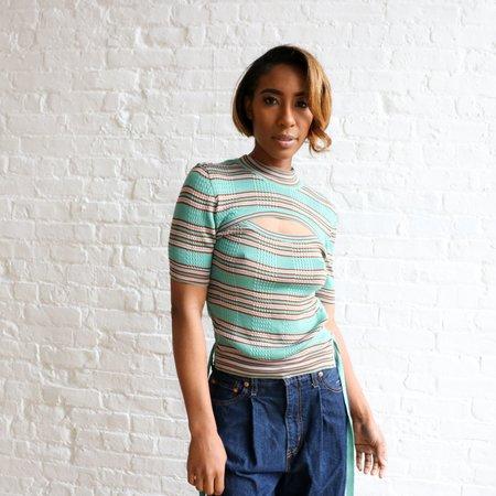 [pre-loved] Fendi Striped Ribbed Top - Green