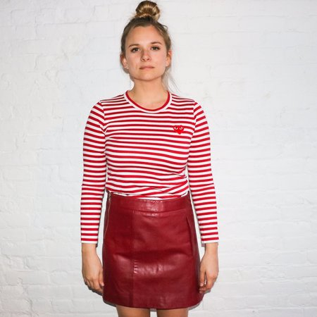 GANNI Leather Mini Skirt - Burgundy