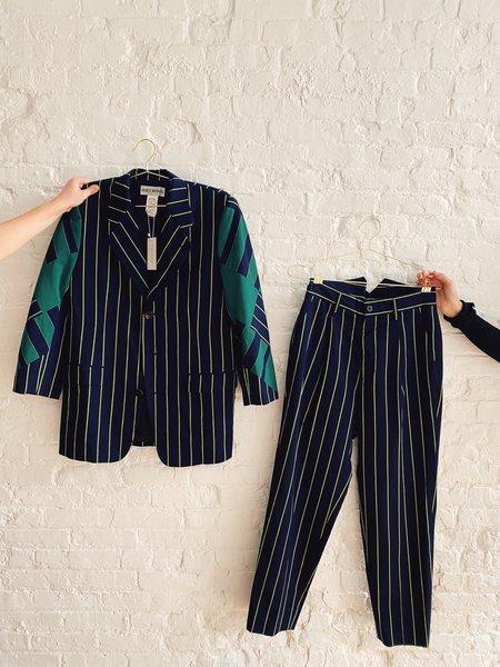 [Pre-loved] Issey Miyake Striped Blazer - Navy