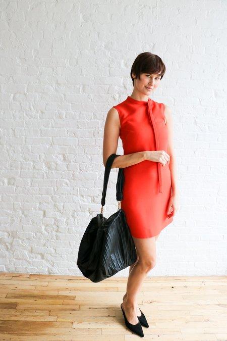 [Pre-loved] Max Mara Frances Pleated Leather Tote Bag - Black