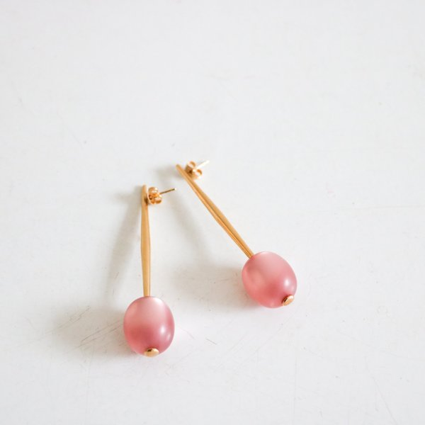 [pre-loved] Pono Bead Drop Pin Earring - pink