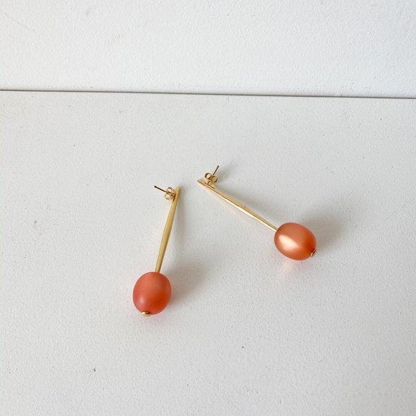 Black/Yellow Pono Bead Drop Pin Earring - orange