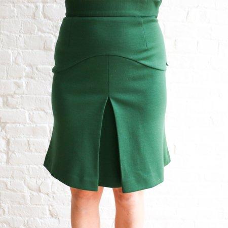 [pre-loved] Prada Center Split Skirt - green