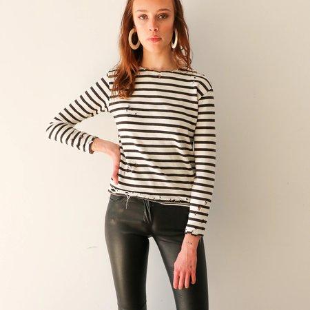 [pre-loved] R 13 Distressed Shirt - black/white