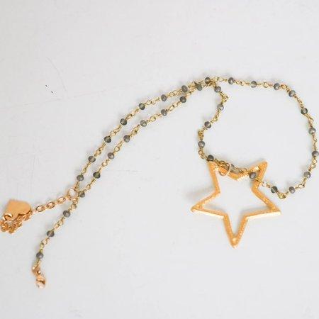 [pre-loved]  Butter Rosary Bead Star Pendant - gold