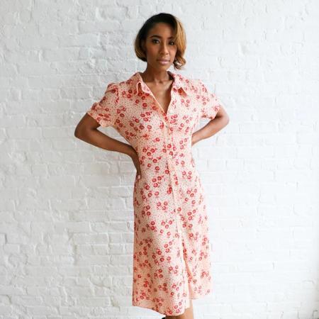 [pre-loved] Rouje Floral Print Midi Dress - pink