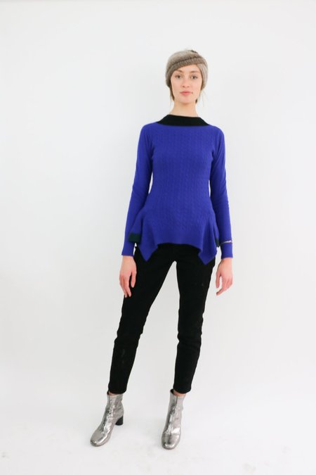 [pre-loved] Sacai Luck Cable Knit Peplum Sweater - blue