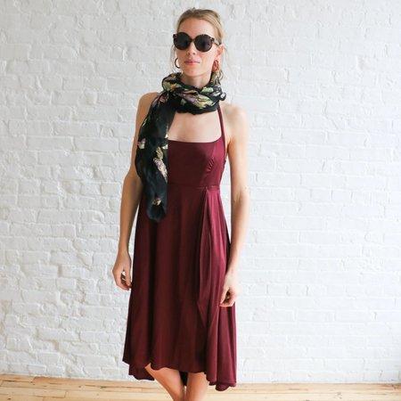 [pre-loved] Yves Saint Laurent High Low Halter Dress - burgundy