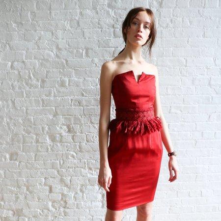 [pre-loved] Yves Saint Laurent Strapless Cocktail Dress - Burgundy