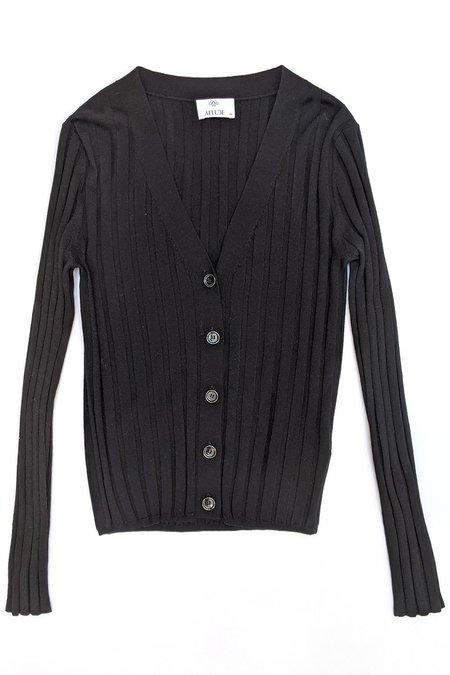 Allude V Neck Knit Cardigan - Black