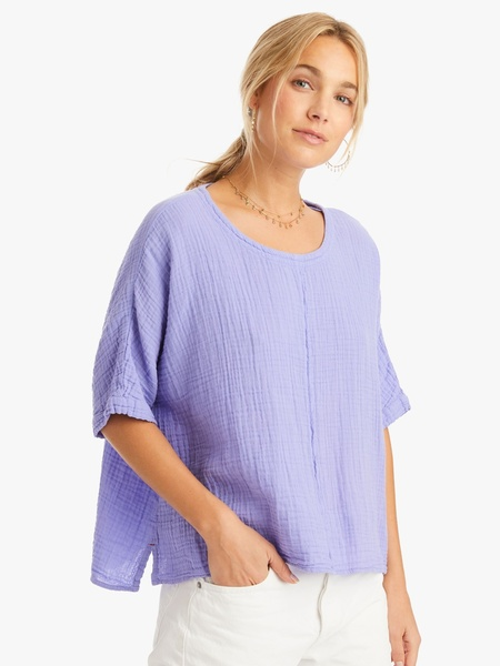 Xirena Landon Cotton Gauze Top - Meridien Blue