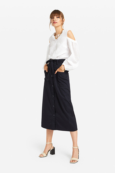 Otto d'Ame DN5775 Cotton Midi Skirt with Buttons - Blue