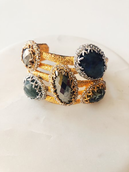 [pre-loved] Alexis Bittar Gemstone Cuff - gold