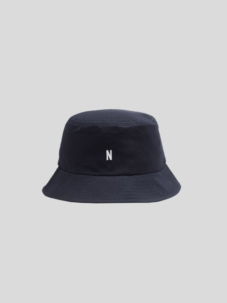Norse Projects Seersucker Bucket Hat - Dark Navy