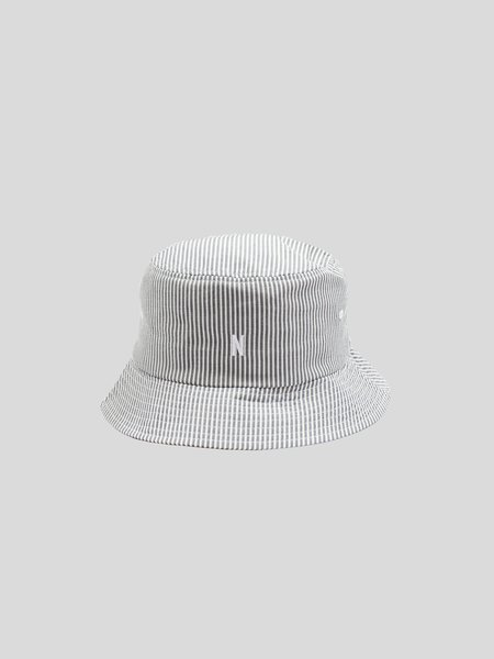 Norse Projects Seersucker Bucket Hat - Navy Stripe
