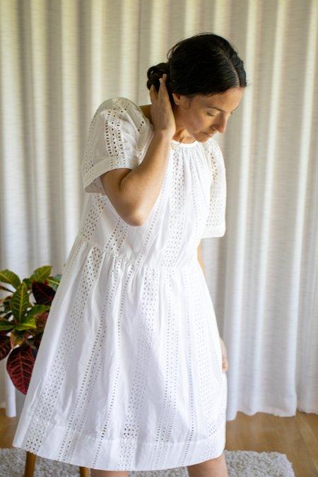 Caron Callahan Amelia Dress with Lining - White Eyelet
