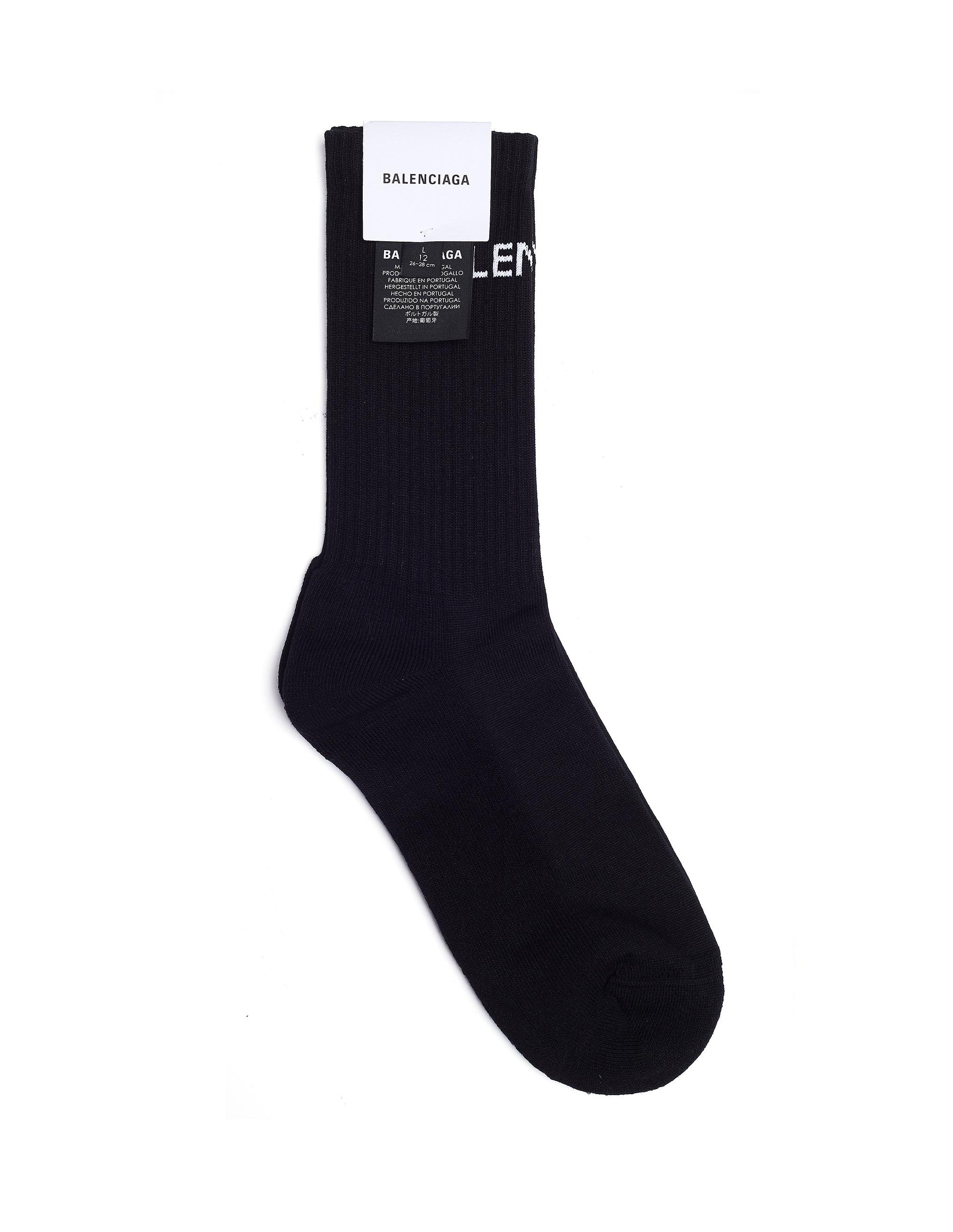 Balenciaga Logo Crew Socks - black
