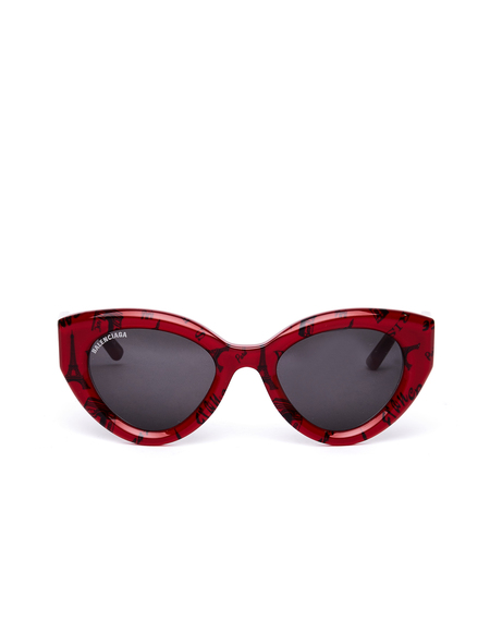 Balenciaga Paris Printed Cat Sunglasses - Red