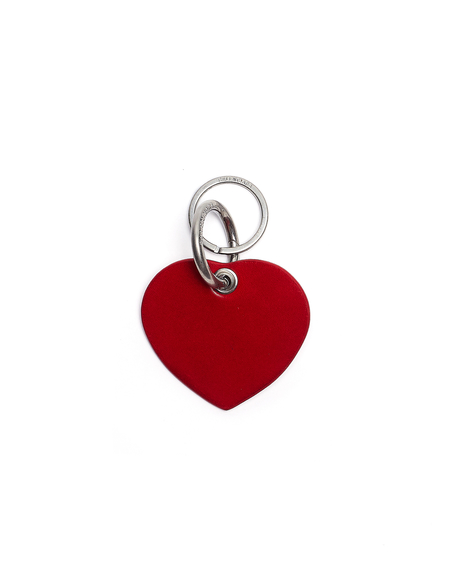 Balenciaga Leather Casino Heart Keyring - Red