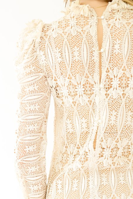 Vintage Sheer Lace Dress - Off White