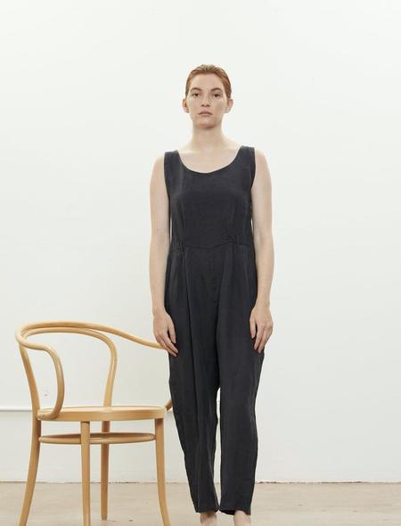 Black Crane Linen Overall - Faded Black