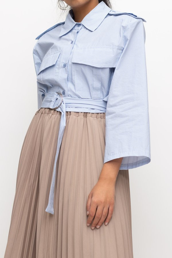 W A N T S Cropped Striped Cargo Top - Blue/White