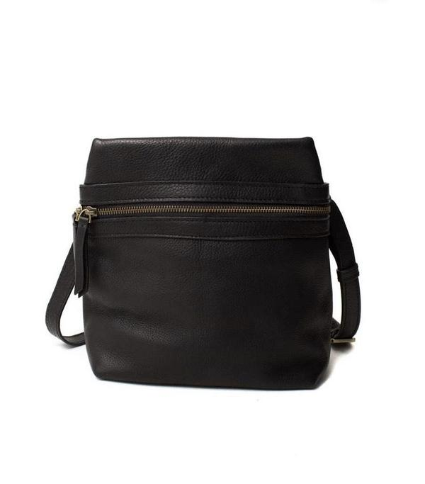 Sapahn Leather Crossbody Convertible Backpack - Pepper